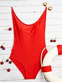 זול 2017ביקיני ובגדי ים-S M L אחיד, בגדי ים חלק אחד (שלם) לבן שחור אדום קולר מוצק בגדי ריקוד נשים / ללא ברזל