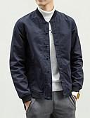 זול טישרטים לגופיות לגברים-בגדי ריקוד גברים שחור כחול נייבי 4XL XXXXXL XXXXXXL ג'קט סגנון סיני אחיד עומד / שרוול ארוך / אביב / סתיו
