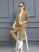cheap Women's Two Piece Sets-Women's Blazer - Solid Colored Pant V Neck / Fall