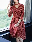 baratos Vestidos Femininos-Mulheres Moda de Rua Bainha Vestido Poá Decote V Médio