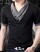 cheap Men's Hoodies & Sweatshirts-Men's Street chic T-shirt - Solid Colored Patchwork V Neck / Short Sleeve