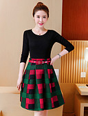 זול טישרט-חצאית צבע טהור פרחוני, אחיד גיאומטרי - טישרט כותנה ליציאה בגדי ריקוד נשים