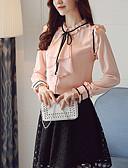 preiswerte Damen Pullover-Damen Solide / Einfarbig - Anspruchsvoll Ausgehen Bluse Schleife / Rüsche / Frühling