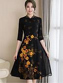 baratos Saias-Mulheres Bainha Vestido - Fenda Estampado, Floral Colarinho Chinês