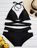 זול 2017ביקיני ובגדי ים-M L XL צבע טהור צבע אחיד, בגדי ים ביקיני מכנס שחור מוצק תחרה בגדי ריקוד נשים / 2pcs / קיץ