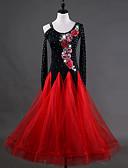 זול בלייזרים וחליפות לגברים-ריקודים סלוניים שמלות בגדי ריקוד נשים הדרכה Chinlon אורגנזה אפליקציות קריסטלים / אבנים נוצצות שרוול ארוך גבוה שמלה