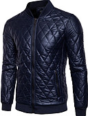 cheap Men's Sweaters & Cardigans-Men's Daily Ordinary Spring / Winter Regular Leather Jacket, Solid Colored Stand Long Sleeve PU Black / Navy Blue XL / XXL / XXXL