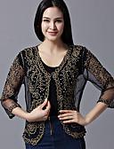 זול חולצות לנשים-אחיד V עמוק פעיל עבודה גלישה - בגדי ריקוד נשים תחרה רקום סרוג שרוול עטלף