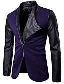 זול חולצות לגברים-בגדי ריקוד גברים שחור כחול נייבי L XL XXL בלייזר קולור בלוק / שרוול ארוך / אביב / סתיו
