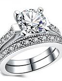 billige Gaveæsker-Dame Kvadratisk Zirconium Cluster Band Ring - Vintage, Elegant 6 / 7 / 8 Sølv Til Bryllup Forlovelse Ceremoni / 2pcs