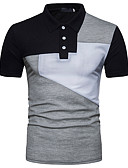 cheap Leggings-Men's Active Slim Polo - Color Block Black & White, Basic Shirt Collar / Short Sleeve