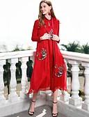 זול טרנינגים וקפוצ'ונים לנשים-עומד בסיסי, צבע אחיד - שמלה משוחרר סגנון סיני בגדי ריקוד נשים