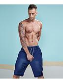 זול מכנסיים ושורטים לגברים-בגדי ריקוד גברים סגנון רחוב כותנה ג'ינסים / שורטים מכנסיים - אחיד חור כחול בהיר / ספורט