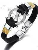 cheap One-piece swimsuits-Men's Bracelet Bangles Leather Bracelet Geometrical Vintage scottish Stainless Steel Bracelet Jewelry Black / Brown For Gift Daily
