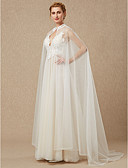 cheap Wedding Wraps-Sleeveless Lace / Tulle Wedding / Party / Evening Women's Wrap With Appliques / Button Capes