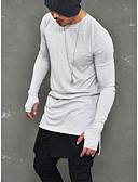 preiswerte Herren Pullover-Herrn Solide - Grundlegend / Punk & Gothic Klub Baumwolle T-shirt, Rundhalsausschnitt / Langarm