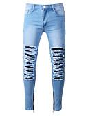 preiswerte Herrenhemden-Herrn Normal Einfach Mittlere Hüfthöhe Mikro-elastisch Jeans Hose, Polyester Frühling/Herbst Solide