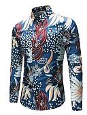 זול טישרטים לגופיות לגברים-פרחוני צווארון קלאסי וינטאג' / סגנון סיני מידות גדולות פשתן, חולצה - בגדי ריקוד גברים / שרוול ארוך