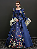 cheap Wedding Slips-Queen Victoria Renaissance Costume Women's Dress Outfits Party Costume Masquerade Blue / Red Vintage Cosplay 3/4 Length Sleeve Puff / Balloon Sleeve Floor Length Long Length Ball Gown Plus Size