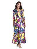 זול שמלות נשים-צווארון V מקסי דפוס, אחיד - שמלה נדן רזה כותנה בגדי ריקוד נשים / אביב