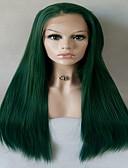 זול טישרט-סינתטי תחרה פאות הקדמי ישר תספורת שכבות שיער סינטטי חלק אמצעי ירוק פאה בגדי ריקוד נשים ארוך / חצי אורך חזית תחרה ירוק