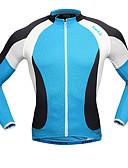 זול בגדי שינה והלבשה תחתונה לנשים-SANTIC בגדי ריקוד גברים שרוול ארוך חולצת ג'רסי לרכיבה - כחול / לבן אופניים ג'רזי