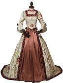 voordelige Bloemenmeisjesjurken-Rococo Victoriaans 18de eeuw Jurken Dames Kostuum Bruin Vintage Cosplay Feest Schoolfeest 3/4 mouw Baljurk / Bloemen