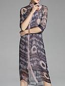 זול טרנינגים וקפוצ'ונים לנשים-צווארון עגול קצר מידי פרחוני - שמלה חולצה בסיסי בגדי ריקוד נשים