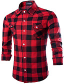 cheap Men's Shirts-Men's Shirt - Plaid Classic Collar