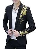 cheap Men's Jackets & Coats-men's going out active spring fall regular blazer, floral print shirt collar polyester