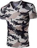 cheap Fashion Belts-Men's Slim T-shirt - Camouflage Print V Neck / Short Sleeve