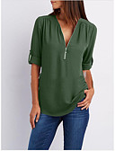 cheap Women's Dresses-Women's Going out Basic Loose Blouse - Solid Colored V Neck