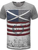 cheap Men's Tees & Tank Tops-Men's Street chic Slim T-shirt - Striped Print Round Neck / Short Sleeve