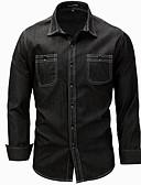 baratos Camisas Masculinas-Homens Camisa Social Moda de Rua Estampado, Sólido / Manga Longa