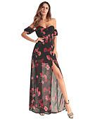 זול שמלות נשים-סירה מתחת לכתפיים מקסי רשת מפוצל דפוס, פרחוני - שמלה שיפון בגדי ריקוד נשים