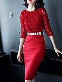 זול חליפות שני חלקים לנשים-מעל הברך צבע אחיד - שמלה נדן רזה בסיסי / סגנון רחוב ליציאה בגדי ריקוד נשים