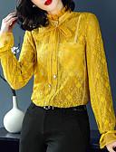 abordables Camisas para Mujer-Mujer Vintage / Chic de Calle Encaje / Cortado Camisa, Escote Chino Un Color