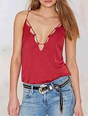 رخيصةأون قمصان رجالي-نسائي قطن كنزة نحيل V رقبة - رياضي Active ظهر مثير لون سادة أحمر L / الصيف