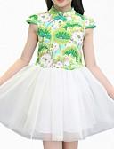 abordables Vestidos de Niña-Vestido Chica de Diario Floral Algodón Poliéster Manga Corta Primavera Verano Simple Bonito Azul Piscina Verde Trébol