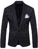 cheap Men's Blazers & Suits-Men's Daily / Holiday Active Spring / Fall Plus Size Regular Blazer, Striped Shirt Collar Long Sleeve Polyester Black / Red / Gray XXL / XXXL / 4XL / Slim