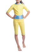 billige Badetøj til piger-Pige Boheme Sport Farveblok Klassisk Stil Halvlange ærmer Polyester / Nylon / Spandex Badetøj Guld