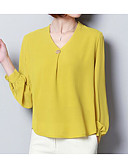baratos Blusas Femininas-Mulheres Blusa Básico Estampado,Sólido