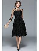 preiswerte Abendkleider-A-Linie Schmuck Tee-Länge Tüll Kleid mit Federn / Pelzl durch LAN TING Express