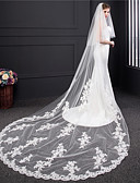 cheap Wedding Veils-Two-tier Lace Wedding Veil Cathedral Veils with Embroidery Tulle / Classic