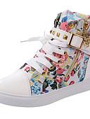 abordables Panties-Mujer Zapatos Tela Primavera / Otoño Confort Zapatillas de deporte Tacón Plano Negro / Rojo / Azul