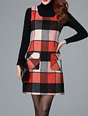 cheap Women's Dresses-Women's Plaid Plus Size Daily Basic Loose Dress - Color Block Fall Green Orange Red XXL XXXL 4XL