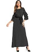 رخيصةأون فساتين طويلة-فستان نسائي فضفاض / متموج بوهو كشكش / مطوي طويل للأرض منقط / ورد
