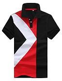 billige T-skjorter og singleter til herrer-Bomull Tynn Skjortekrage Polo Herre - Geometrisk / Fargeblokk / Rutet, Lapper / Kortermet