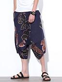 tanie Męskie spodnie i szorty-Męskie Boho Spodnie szerokie nogawki Spodnie - Kwiaty Granatowy / Lato