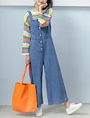 tanie Damskie spodnie-Damskie Ponadgabarytowych Jeansy / Kombinezon Spodnie Solidne kolory